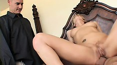 Luscious blonde cougar has a guy fucking her needy holes in front of her husband