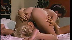 Courageous fair-haired slut kisses soaked cunt and sucks hard dick