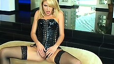 Seductive beautiful blonde strips off slowly and pleasures her clit