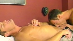 Eric and Grant get together on the bed and indulge in hot anal sex