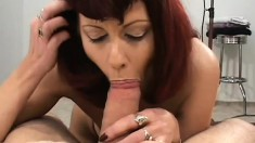 Sophisticated MILF shows off her nasty skills on two young dicks