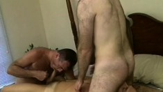 Patrick Ives is joined by two guys on the bed for a wild gay threesome
