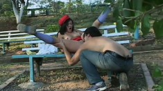 Attractive young brunette with lovely boobs enjoys rough anal action in the park