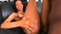 Luscious ebony tart moans while taking in an unbreakable black wang