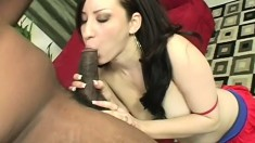 Pale white brunette with a fabulous ass Maya is addicted to black cock