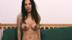 Nice Asian babe Mayuko gets naked and ready to dildo fuck herself