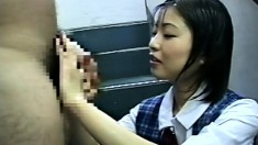 Young Asian cutie gets all wet while getting her body covered in cum