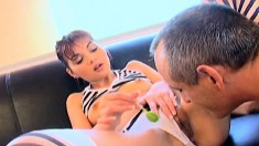 Candy eating girl deep throats and gets her bald cunny banged