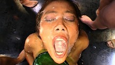Cum is the word in this Bukkake clip with loads of jizz all over them