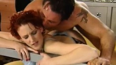 Hot redhead Inna R gets relief by fucking a sexy hung superstud