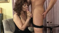 Big tit Granny blows him and gets her old cunt fingered and dicked