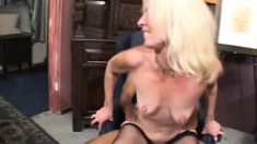 Wild blonde milf in sexy lingerie has a black man drilling her holes