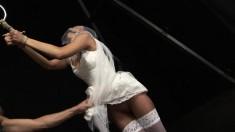 Bondage fetishist in white stockings Regina fulfills her dark fantasy