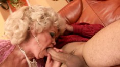 Big breasted mature Effie fucks Leslie's hard prick every way she can