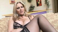 Stacked blonde milf puts on her sexy lingerie and fucks a black stick