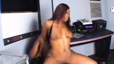 Ebony chick with a phenomenal booty Angel Eyes rides a big black cock