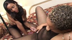 Sexy ebony lesbians eat pussy and use a double dildo to fuck each other