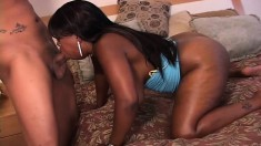 Horny caramel plumper bounces on a big black stick with great passion