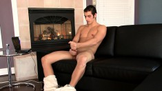 Insatiable young dude is eager to stroke his bulging love muscle