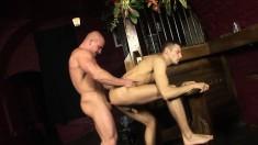 Handsome gay studs Alfredo Castaldo and James Jones enjoy bareback sex