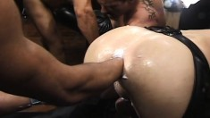 Muscled asses are fisted and fucked in a wild all-male orgy in an alley