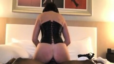 Lingerie wife rides black cock up her ass