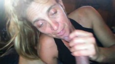 Amateur Big Tit Fat Wife Gives Hubby Sloppy POV Blowjob