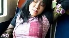 Asian milf masturbates pussy in the train