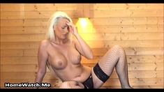 Exposed Blonde Masturbating While Boyfriend Is In Bed