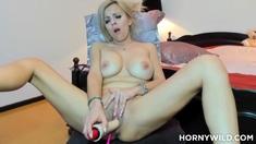 Blonde Coed Plays On Webcam